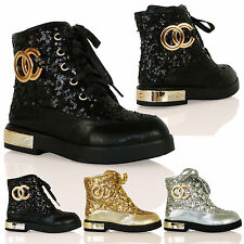 K2B Girls Lace Up Fashion Army Boots Gold Heel Plate Zip Up Kids Childrens Shoes