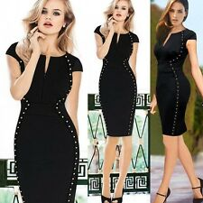 Womens Studded Optical Illusion Tunic Party Business Bodycon Sheath Pencil Dress