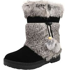 WOMEN'S BEARPAW TAMA II 1292W/BLACK RABBIT FUR UPPER BOOTS