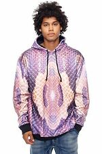 Mens L.A.T.H.C. Black Purple Snake All Over Sublimation Print Hoodie