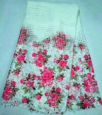 LATEST FLORAL PRINTED CUPION BRIDAL DRESS LACE FABRIC MATERAL 5YDS LOT WIDTH 51""