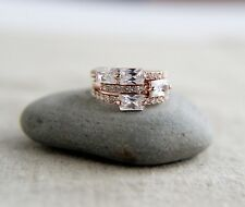 Set of 3 Rose Gold Plated Rings CZ Engagement Rings Cocktail Rings Fashion Rings