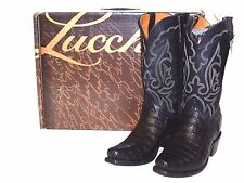 Lucchese Black  Utra Belly Caiman Tail/BK Jersey N9584 74 Man's Exotic Skin Boot