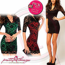 UK Women Formal Long Lace Sleeve Prom Evening Party Cut Out Bodycon Maxi Dress