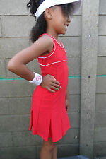 Girls Red Tennis Dress & underpants Netball Badminton Hockey age 5-14 year old