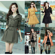 Fashion Women Double Breasted Lace Slim Trench Coat Outwear Long Jacket Overcoat