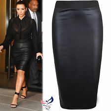 WOMENS WET LOOK FAUX LEATHER PENCIL WIGGLE BODYCON HIGH WAISTED KIM MIDI SKIRT