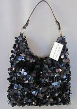 New Pewter Fully Sequined & Lined Hobo Handbag Shoulder withTop Zip Closure
