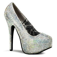 Damen Plateau High Heel Pumps Beverly Hills (USA) 10cm Strass Satin Elegant