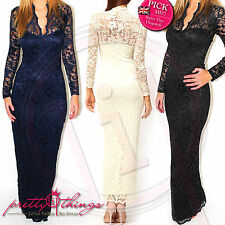 UK Formal Long Lace Sleeve Prom Bodycon Party Bridesmaid Wedding Maxi Dress
