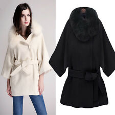 2014 New Winter Women's Cashmere Coat Raccoon Fur Collar Cape Coat High Quality