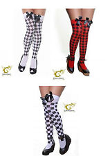 NEW LADIES CHECKERED/DIAMANTE STOCKINGS THIGH HIGH SEXY FANCY DRESS ACCESSORIES