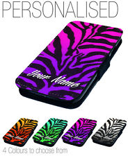 Personalised Name  Zebra Design Printed Faux Leather Flip Phone Cover Case Gift