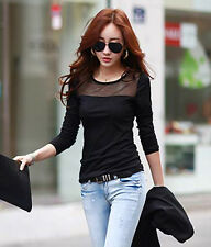 Korean Fashion Women's Slim Mesh Tops Long Sleeve Tee Shirt Casual Blouse M L