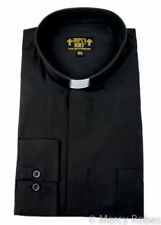 Mens Black Clergy Shirt, Standard Cuff, Tab Collar, Long Sleeve, Pastor, Priest