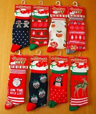 Ladies Festive Feet Christmas Novelty Socks Xmas Santa Stocking Filler Size 4-8