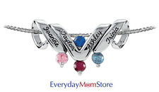 Personalized Mother's Pendant Sterling Silver or Gold 1 to 6 Names & Birthstones