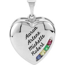 Personalized Mother's Heart Pendant Silver or Gold 1 to 4 Names & Birthstones