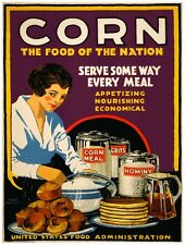 9554.Corn.the food of the nation.woman mixes flour.POSTER.decor Home Office art