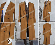 Doctor Cosplay Who The 10th Dr Costume Strip Uniform Suede Trench Coat Nice New