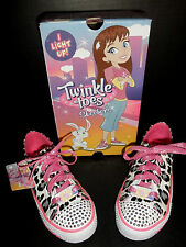 "NEW $55 Girls Skechers Twinkle Toes ""Wild Onez"" Light-Up Sneakers shoes lace up"