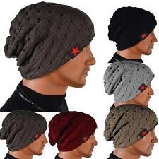 Men Knit Beanie Reversible Baggy Cap Skull Chunky Winter Hat X085