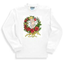 Country Decorative SWEATSHIRT cupid valentine wreath rose roses angel