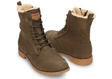 TOMS Women's Alpha Boots Synthetic Leather in Olive 10003511 $124 Sz 6-9.5 NEW