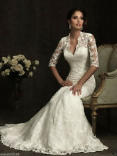 New White/Ivory Lace Wedding Dress Custom All Size 2-4-6-8-10-12-14-16-18+++