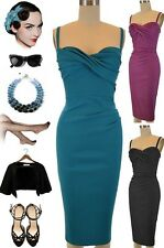 50s Style Spaghetti Strap Tight Fit TWISTED BUST PINUP Wiggle Dress - 3 Colors!