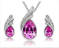 925 Sterling Silver Plated Swarovski Crystal pendant necklace and earrings set