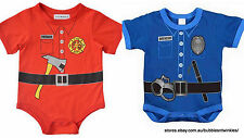 POLICE / FIREFIGHTER BABY SUITS COSTUMES Toddler 3 Sizes M, L, XL Great Price