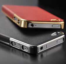 Frame Luxury Leather Chrome Hard Back Case Cover For iPhone 5S 5 iPhone 4S 4