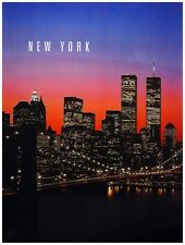 9795.New York.Panoramic view of city at night.POSTER.decor Home Office art