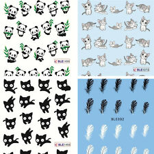 Buy 2 Get 1 FREE Cat Panda Feather Nail Art Nail Decals Water Transfer Stickers