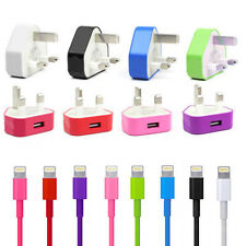 2 in 1 Apple iPhone 5 5G iPad Mini iPod Mains Charger Sync USB Data Cable Lead