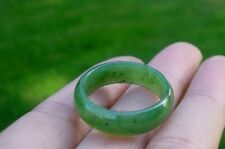 Canadian High Grade Green Jade  wide 7mm Band Ring Size 7,8,9,10,11