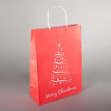 XMAS TWISTED HANDLE GIFT PAPER BAG RED BAG WITH XMAS TREE - TWO SIZES AVAILABLE