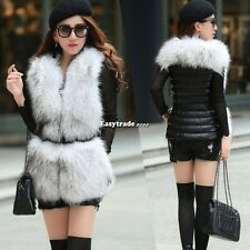 Womens Faux Fur Leather Vest Outerwear Waistcoat Winter Warm Tops Jacket M-XXL