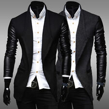 Winter Mens WOOL& LEATHER Motrocycle Trench Blazer Long Casual Coat Jacket Warm