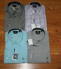 NWT Mens CALVIN KLEIN Slim Fit Long Sleeve Dress Shirt Purple Blue Gray M L XL