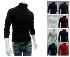 Leisure Men Cotton Turtle Polo Neck Skivvy Turtleneck Sweater Stretch Shirts -LJ