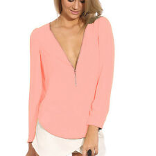Womens Sexy Zip Tops Clubwear Tee Shirt V Neck T-shirts Bright Neon Color Blouse