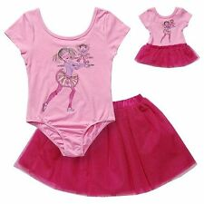 """Dollie & me Sz 4-8  girl and 18"""" doll matching dance leotard ft American girl"""
