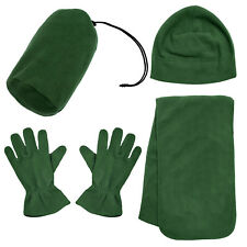 Soft Men Women's Beanie Hat Gloves Scarf Fleece Anti-pilling Winter Set w/ Bag