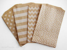 100 Kraft Paper Bags with Asst Designs, Polka Dots, Stripes, More 5.5 x 7.5""