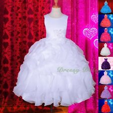 Satin Formal Occasion Wedding Flower Girl Communion Party Dress Size 4-12 FG234