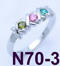 .925 STERLING SILVER RING - WITH 3 BIRTHSTONES - CUSTOM FAMILY, MOTHERS JEWELRY