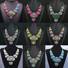 New Fashion Design Crystal Chain Rhinestone Flower Statement Necklace Jewelry