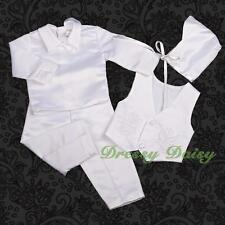 4 Pcs Baby Boy Satin Baptism Christening Long Formal Suit Bonnet Size 000-1 #020